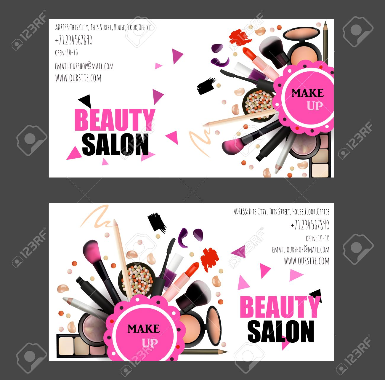 Beauty Salon Business Card Design Set. Cosmetic Products, Professional Make  Up, Care.  Make Voucher