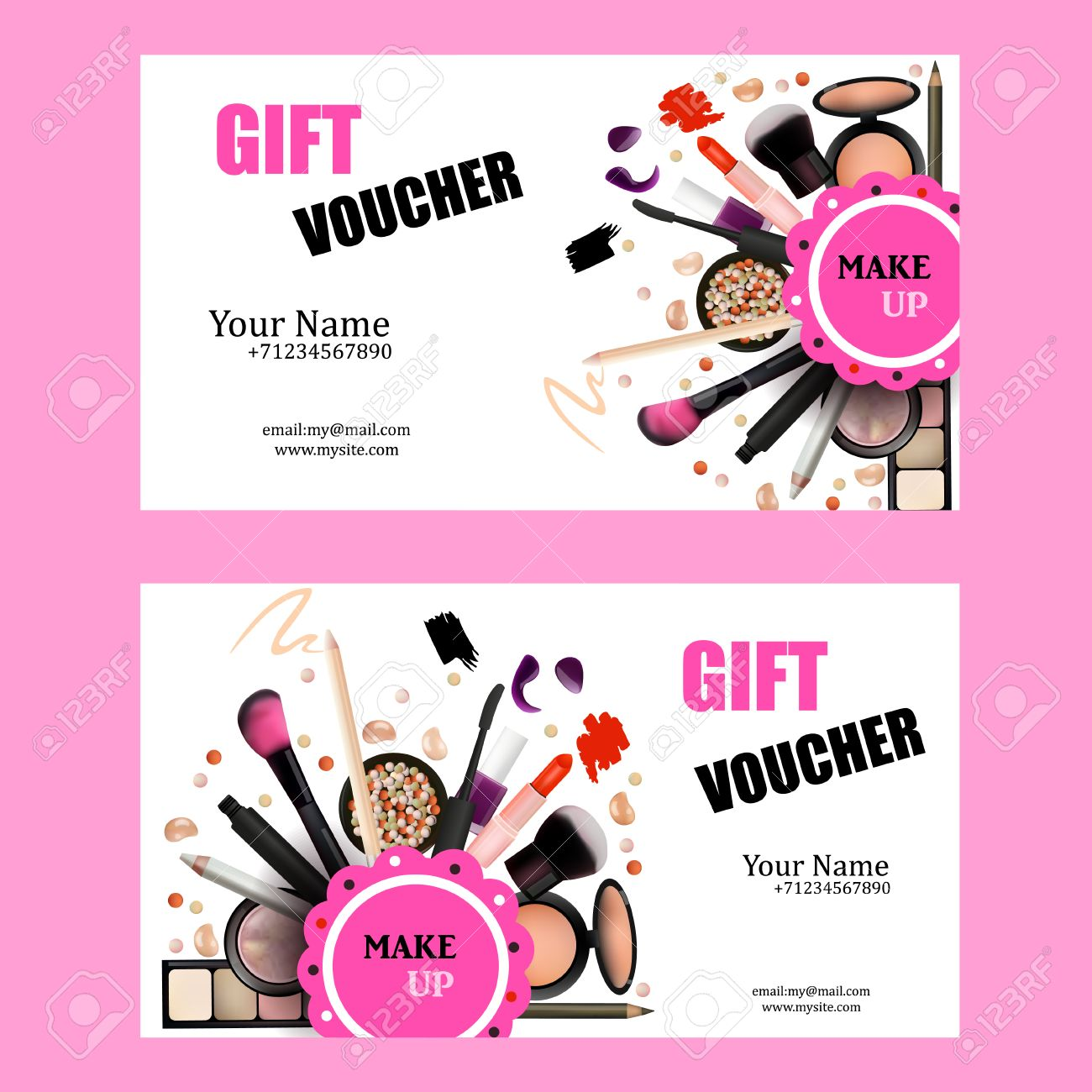 Gift Voucher Card Design Set Cosmetic Products For Make Up Artist – Make Voucher
