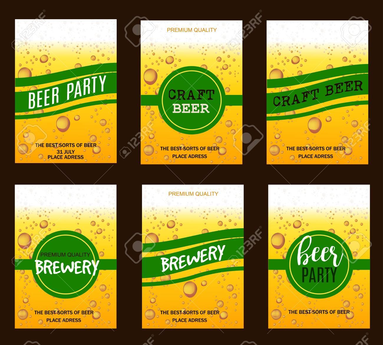 Flyer Set Avec Biere Gouttes Pour La Brasserie Artisanale Beer Party Invitation Affiche Carte De Visite Vector Illustration