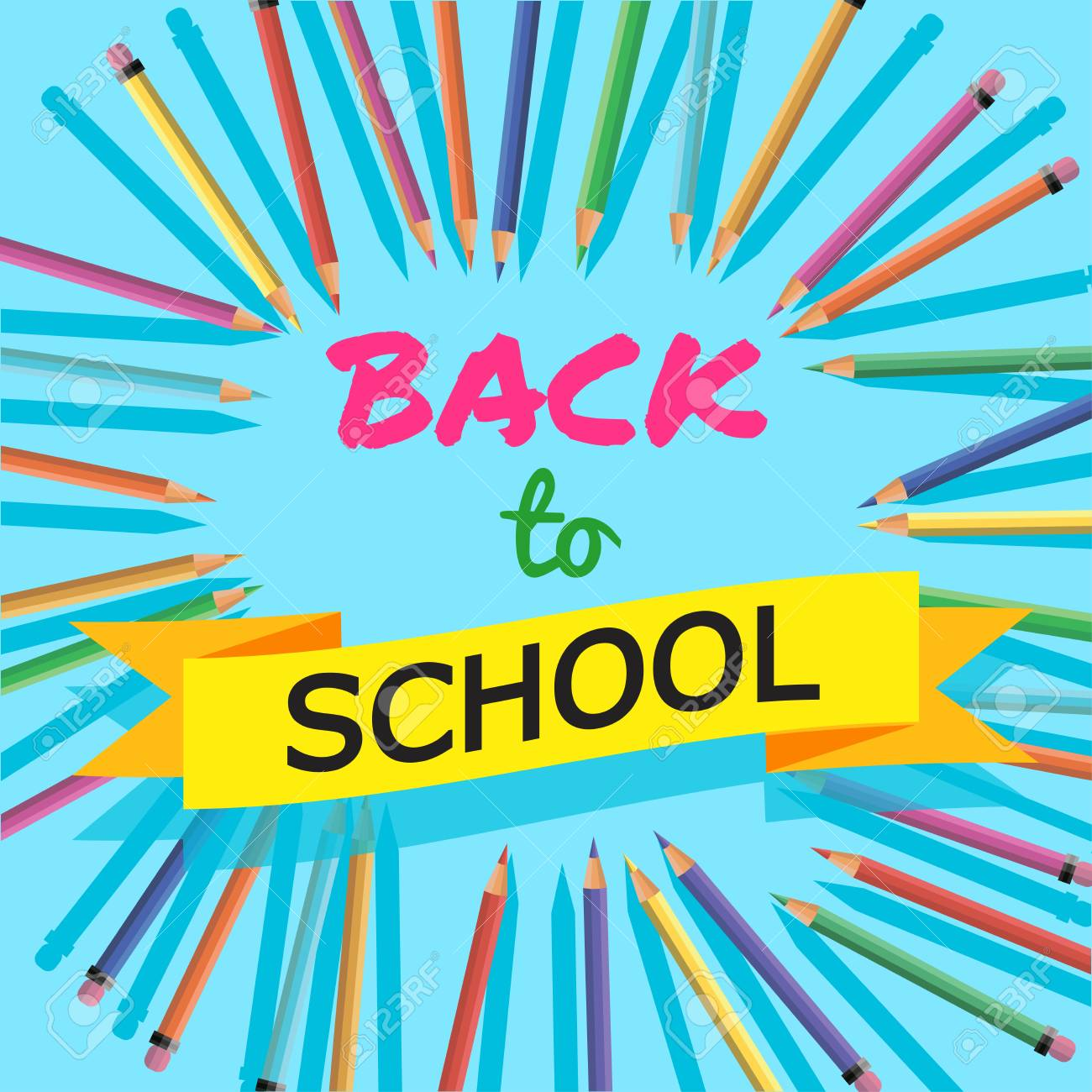 Back To School Background With Colorful Pencils With Header - Welcome brochure template