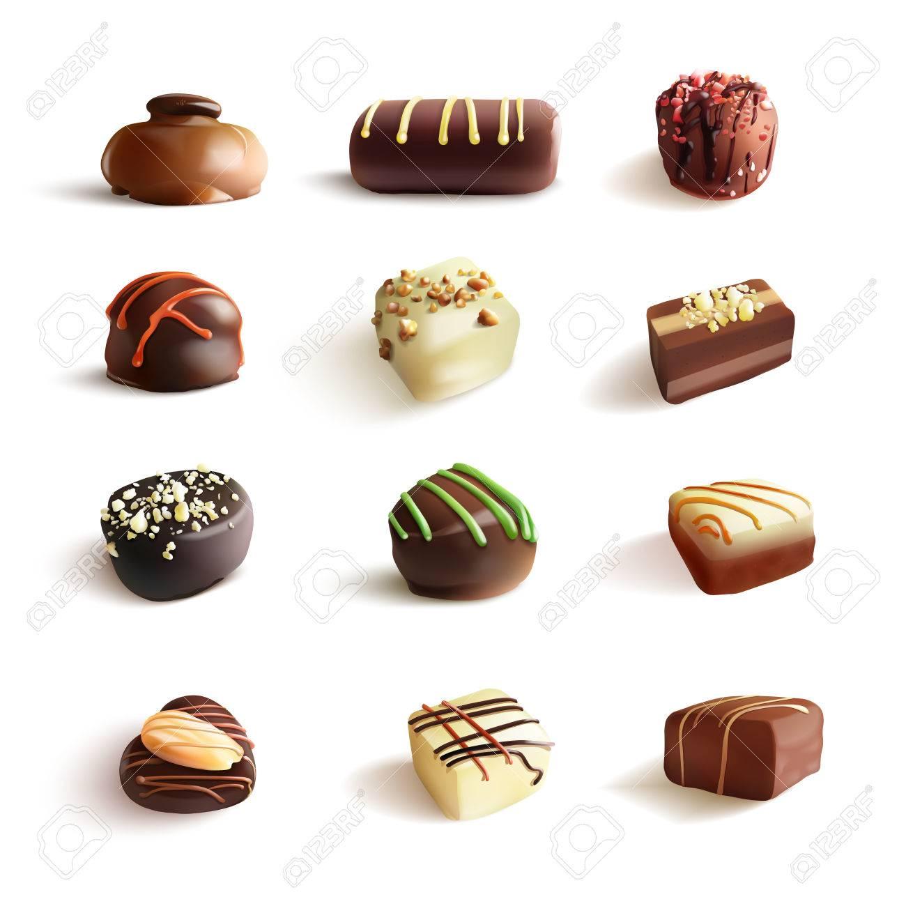 チョコレート菓子の大きなセット ベクトルのリアルなイラストです 白で隔離のイラスト素材 ベクタ Image