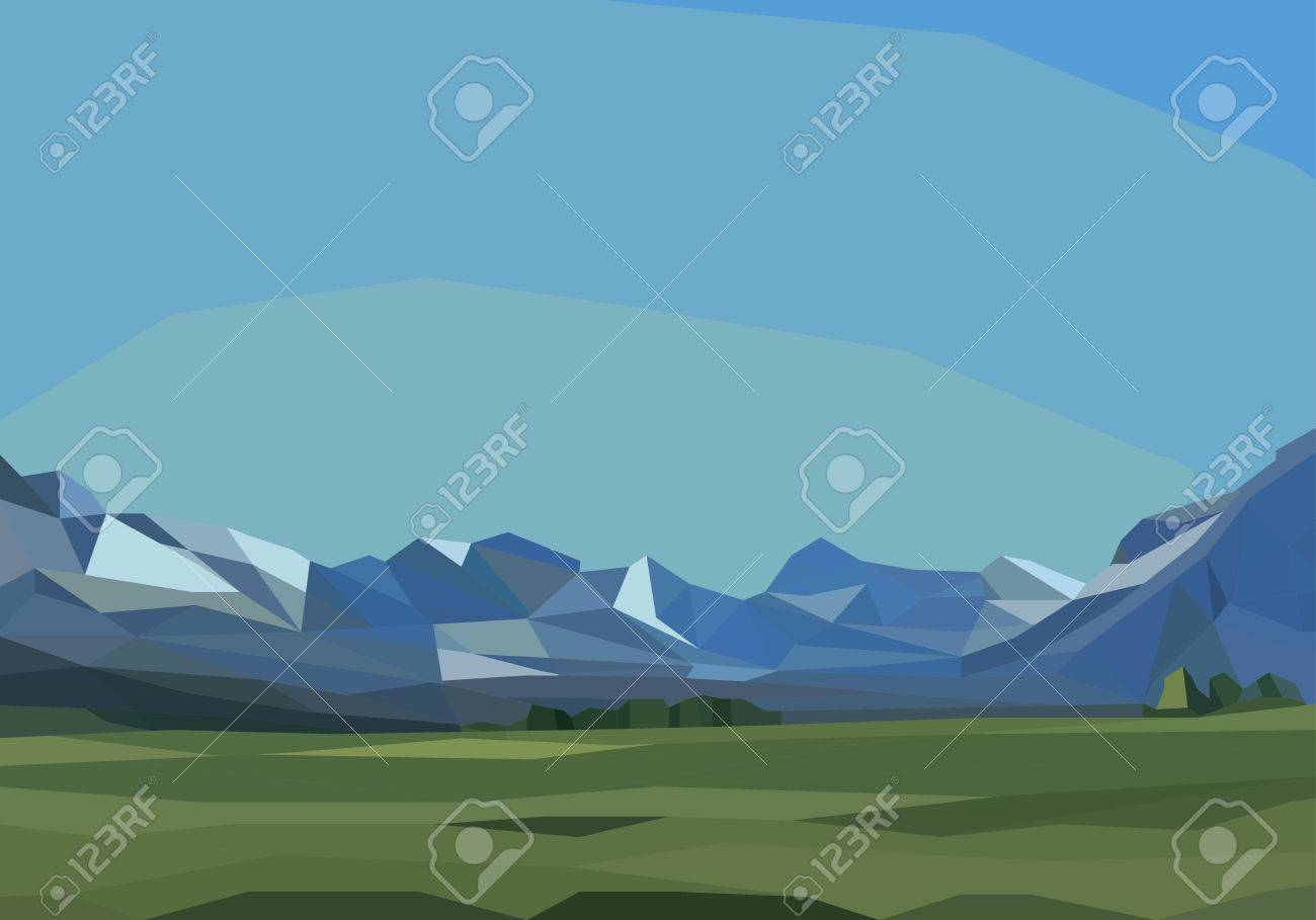 mountains and green field landscape - 65374286