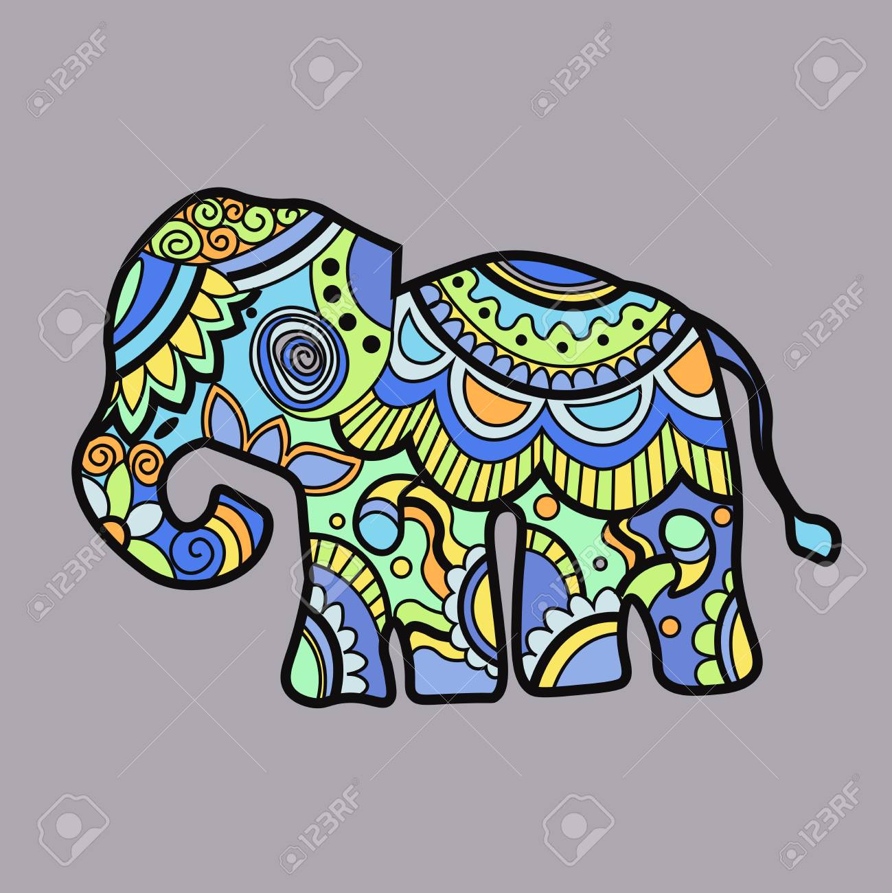f3804c6a Mehndi colored traditional indian ethnic symbol with elephant. Good for  henna design, fabric,