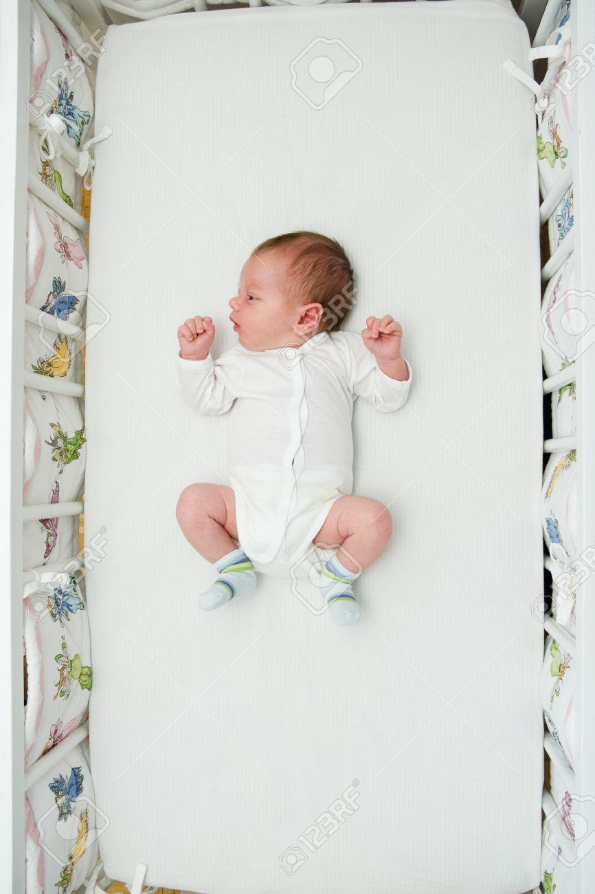 Baby bed newborn - Newborn Small Boy Sleeping In His Big Bed Stock Photo 7072759