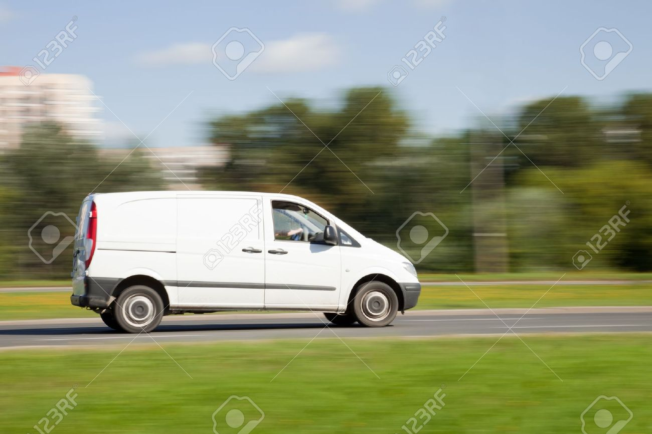 White van on road in intentional motion blur Stock Photo - 10460234