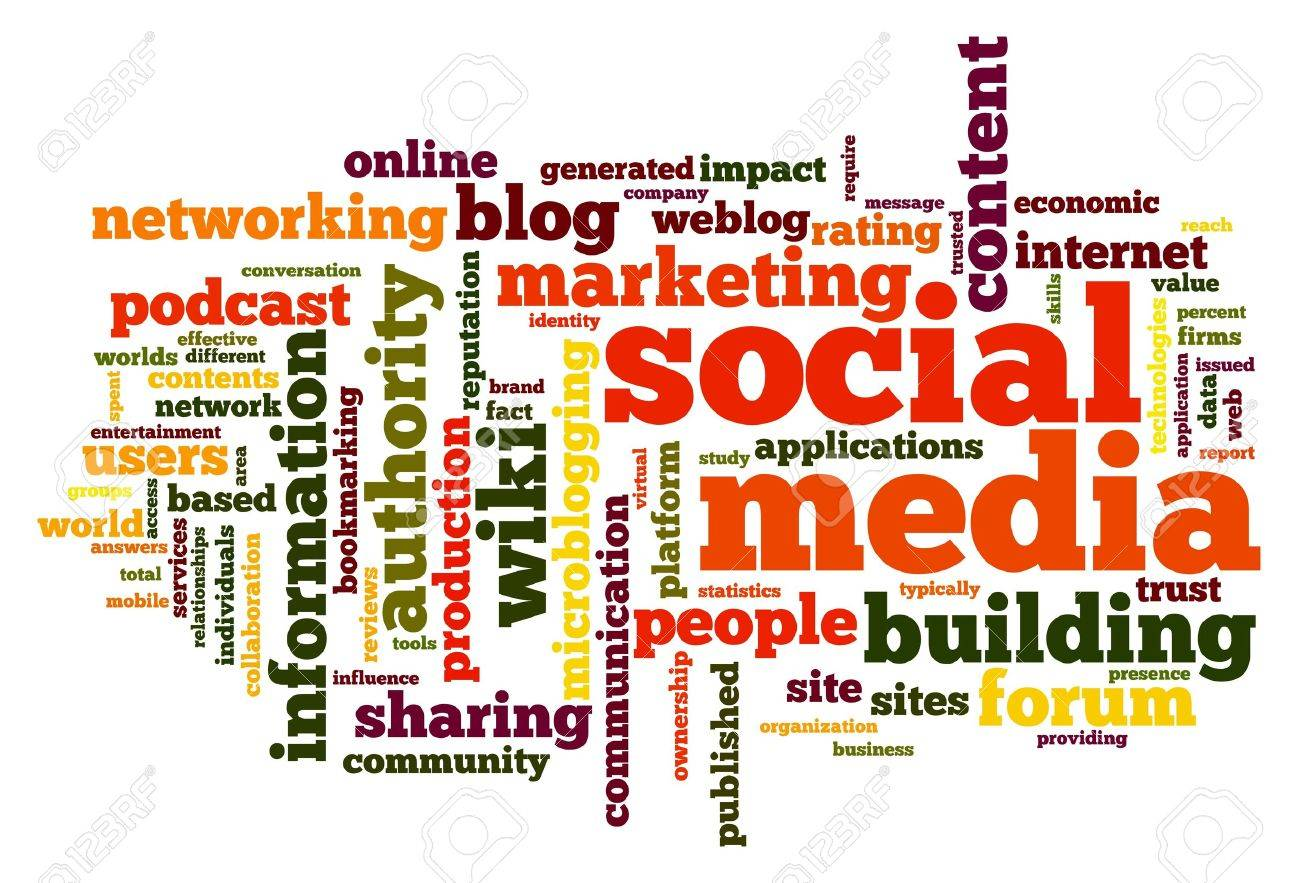 Social media marketing social media concept in word tag cloud on white stock photo