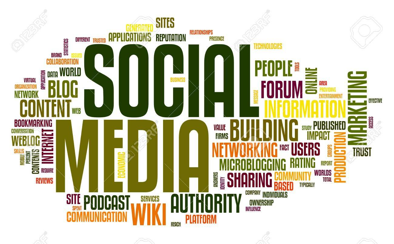 Social media concept in word tag cloud on white stock photo 11175701