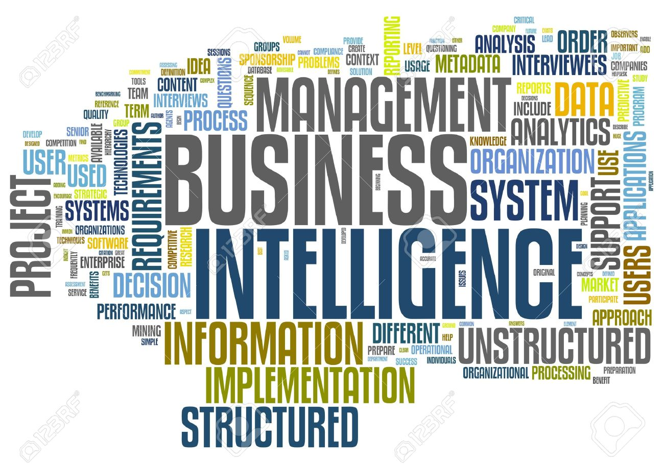 BI - Business intelligence concept in word tag cloud isolated on white Stock Photo - 11362547
