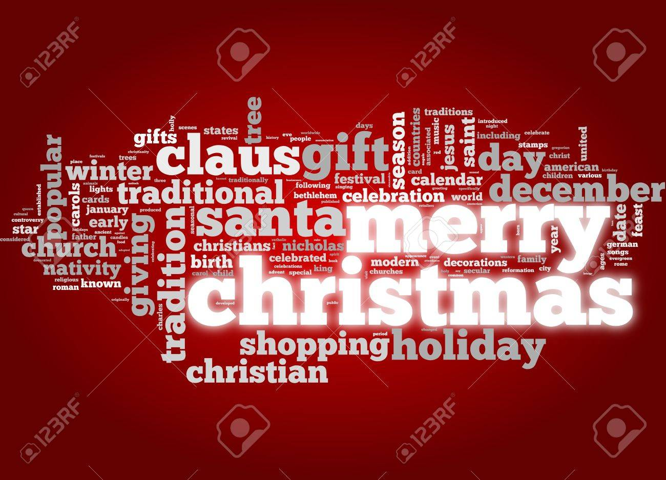 Merry Christmas conceptual card of words in tag cloud Stock Photo - 11362540