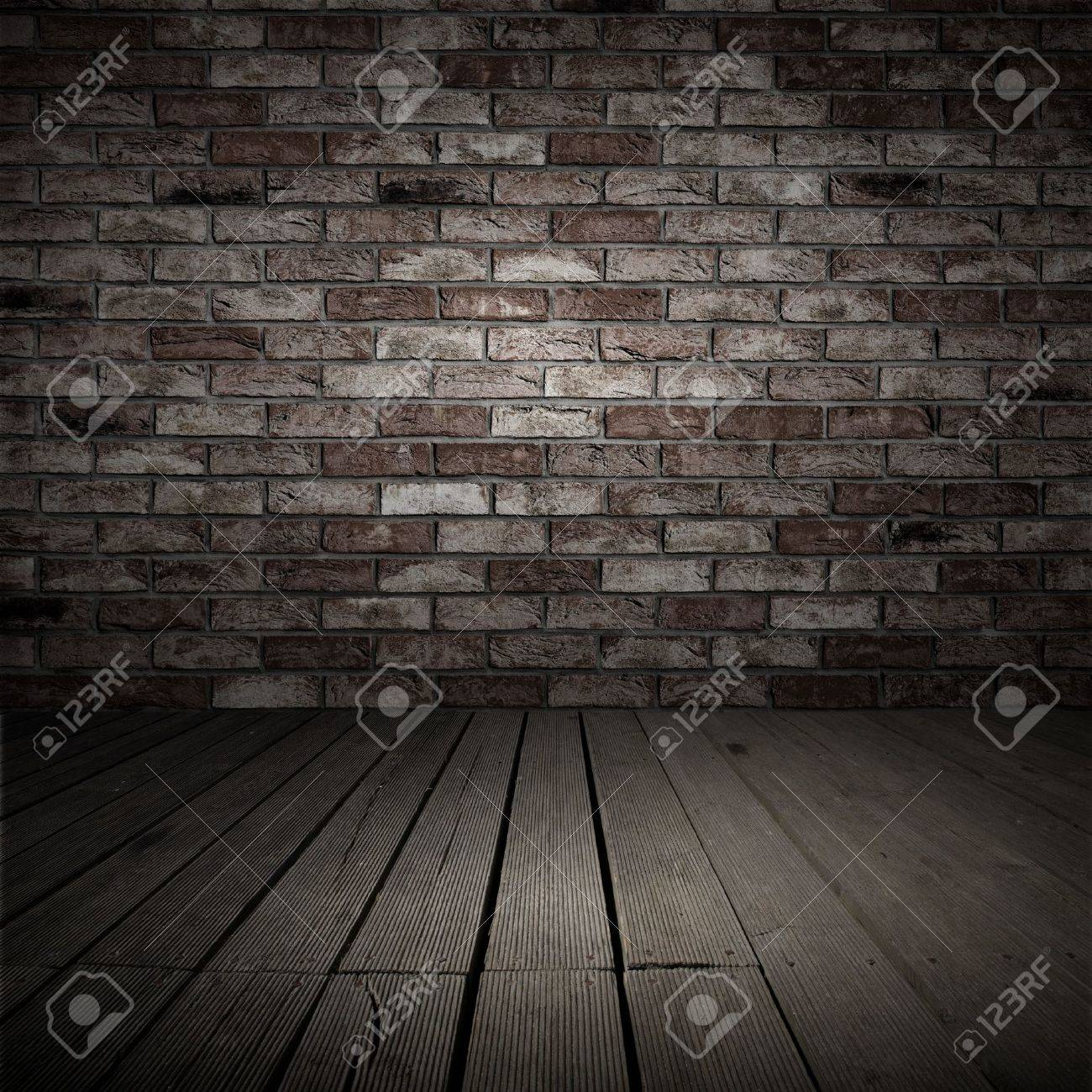 Backgroud of brick wall and wood planks in old interior Stock Photo - 11362494