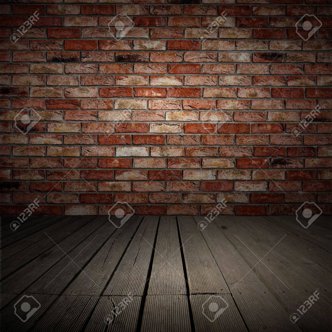 Backgroud of brick wall and wood planks in old interior Stock Photo - 11362495