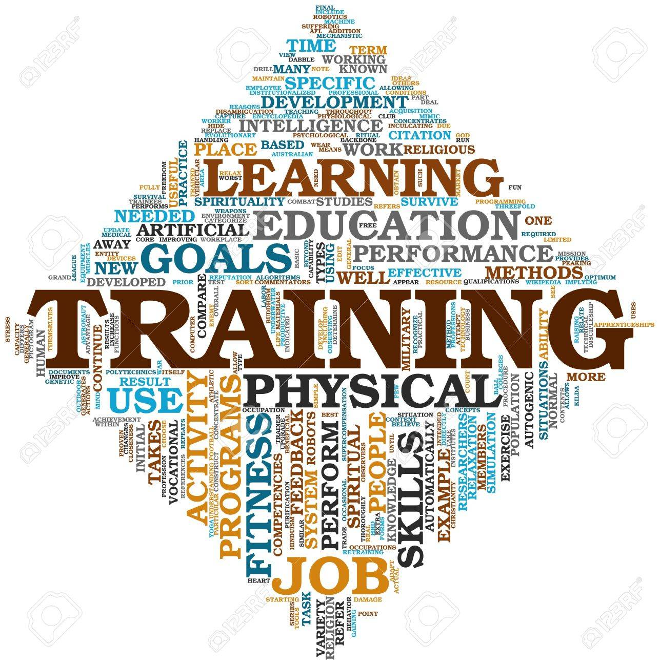 training end education related words concept in tag cloud stock