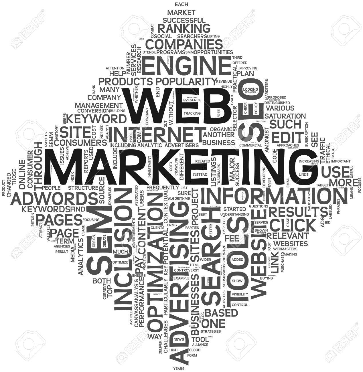 Web marketing concept in word tag cloud on white background. Stock Photo - 11993182
