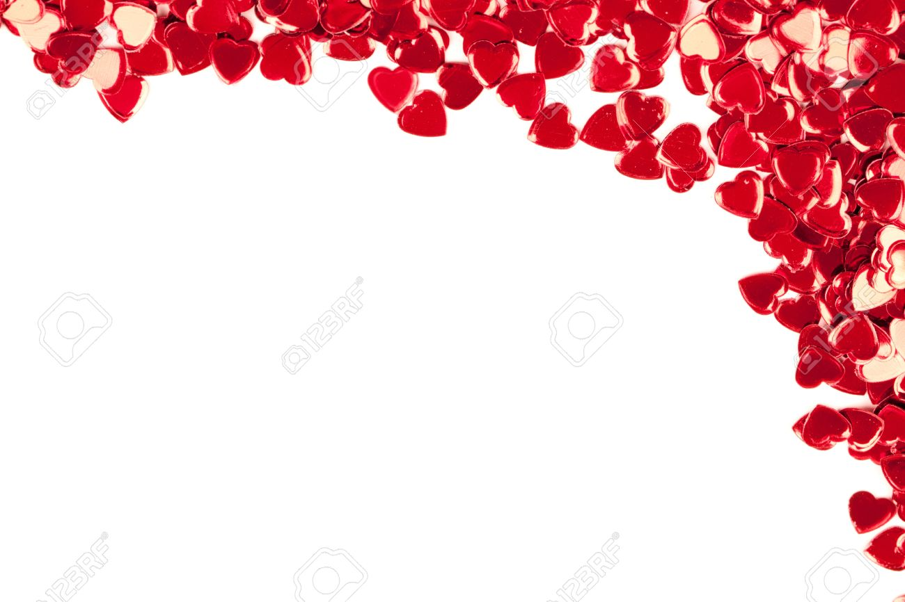 San Valentin Decoration Valentines Decoration Of Red Confetti Hearts Against White