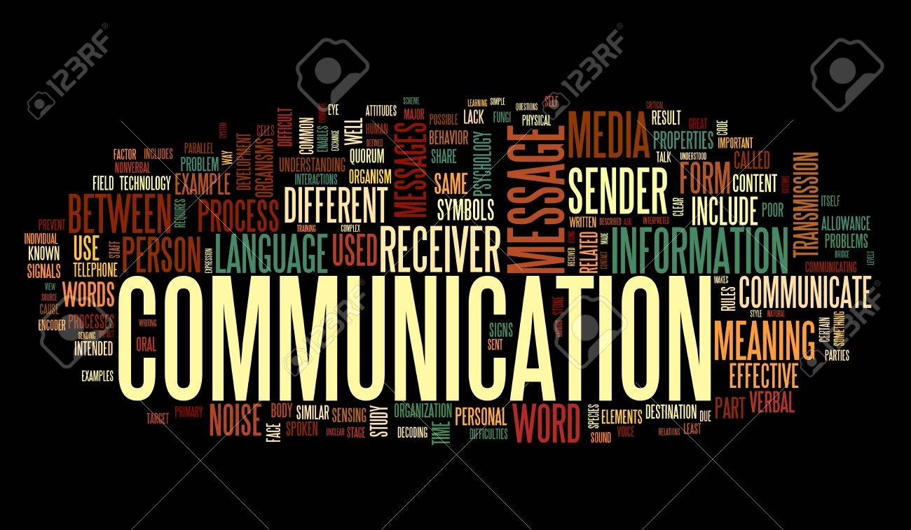 Communication concept in word tag cloud isolated on black background Stock Photo - 12605013