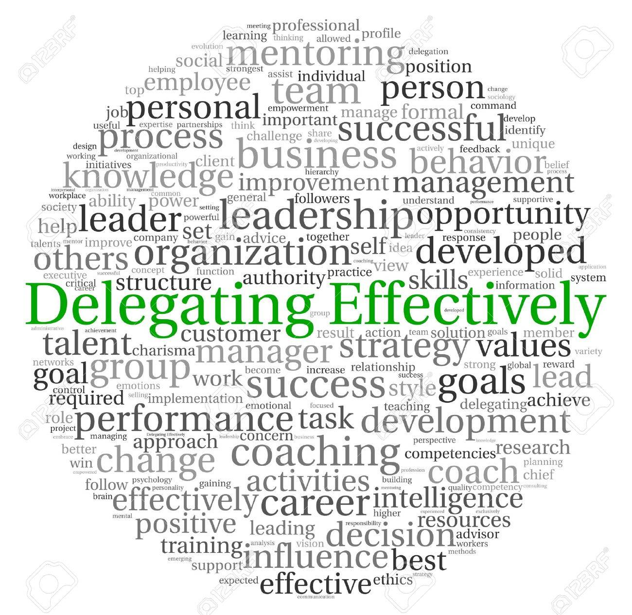 Delegating effectively concept in word tag cloud on white background Stock Photo - 13764413