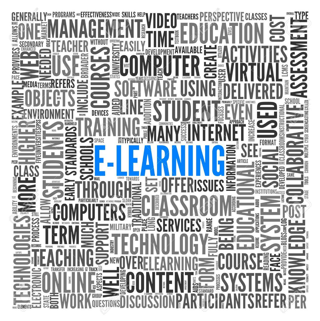 E-learning concept in word tag cloud on white Stock Photo - 14125476