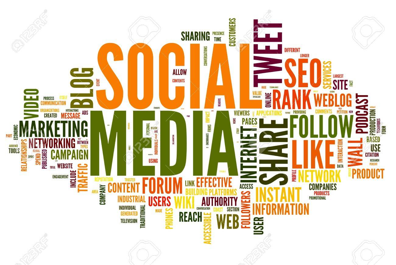 Social media concept in word tag cloud on white stock photo 14855636