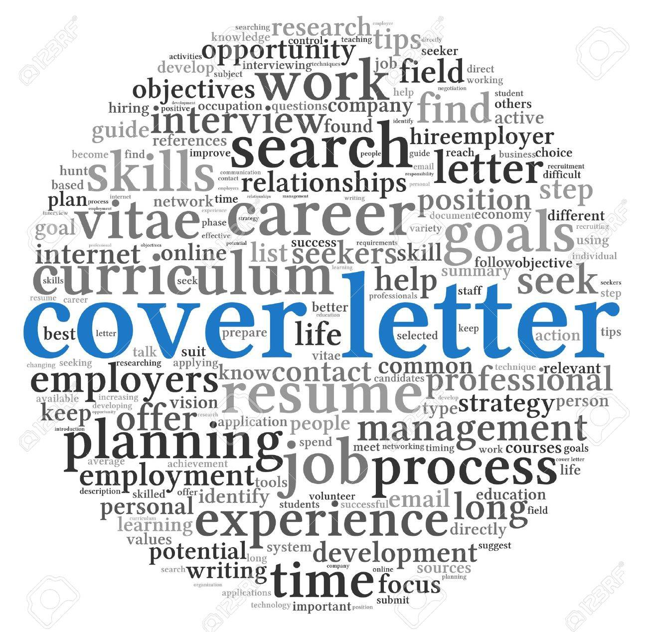 Cover letter concept in word tag cloud on white background Stock Photo - 15257316