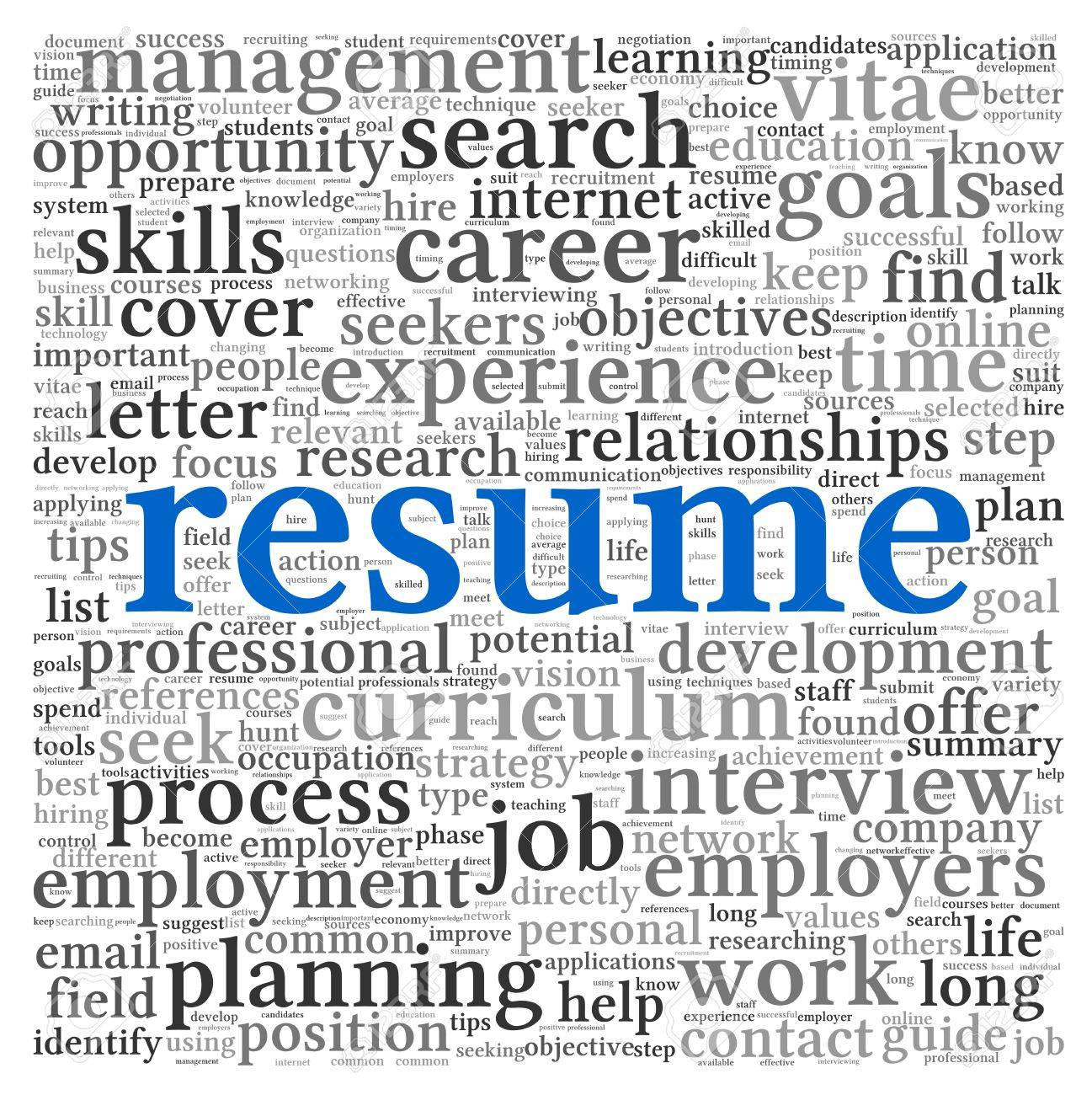 resume concept in word tag cloud on white background stock photo    stock photo   resume concept in word tag cloud on white background
