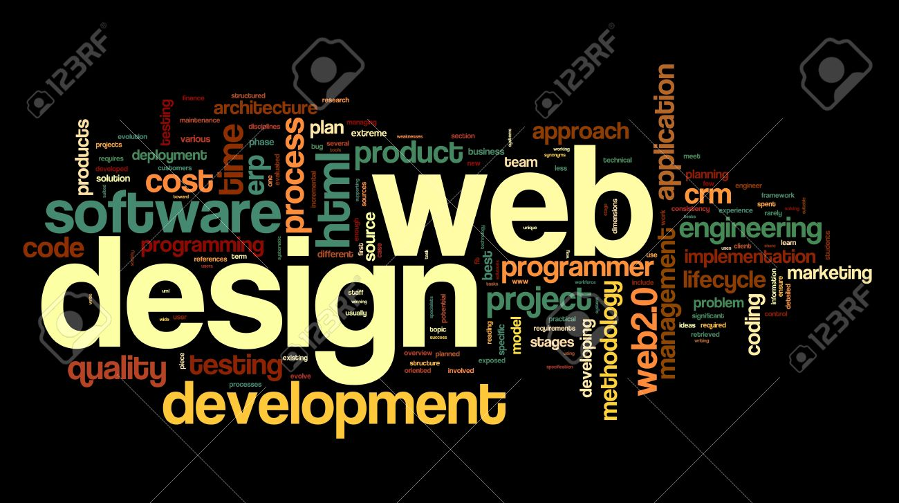 Web Design Concept In Word Tag Cloud On Black Background Stock ...