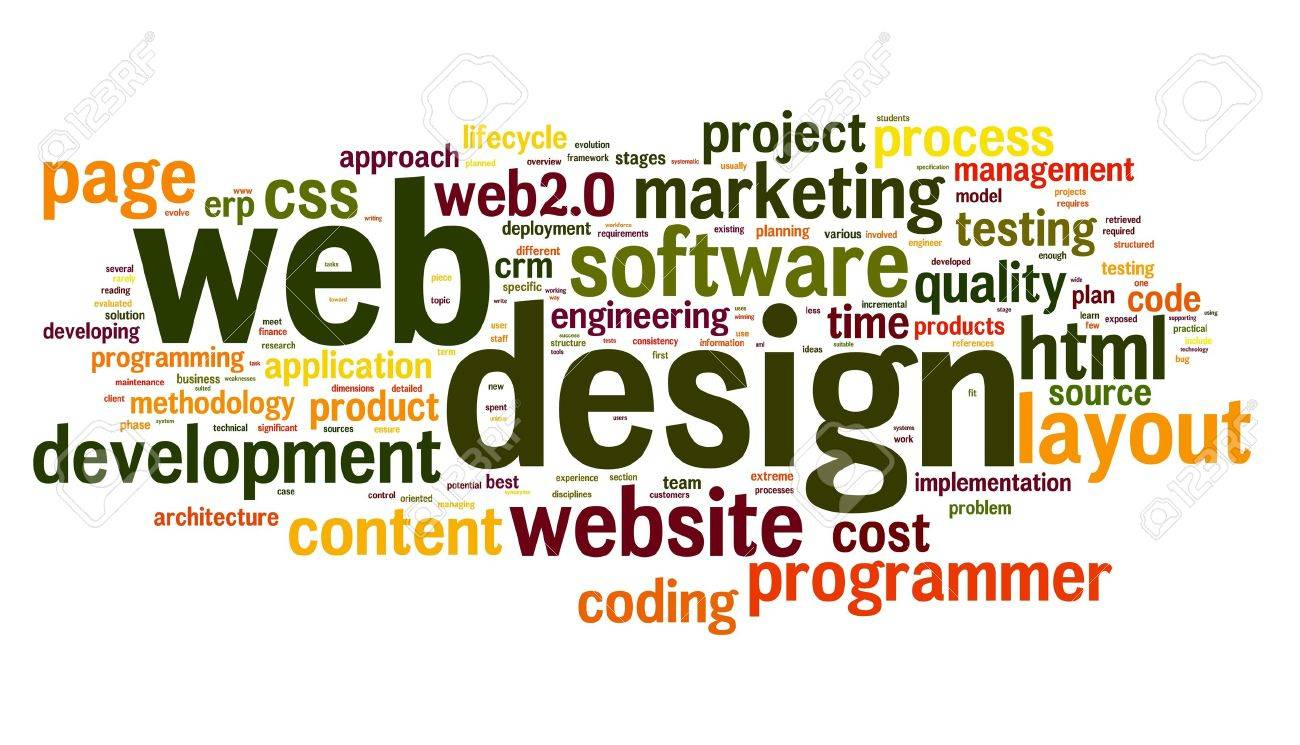 Web design concept in word tag cloud on white background Stock Photo - 15662064