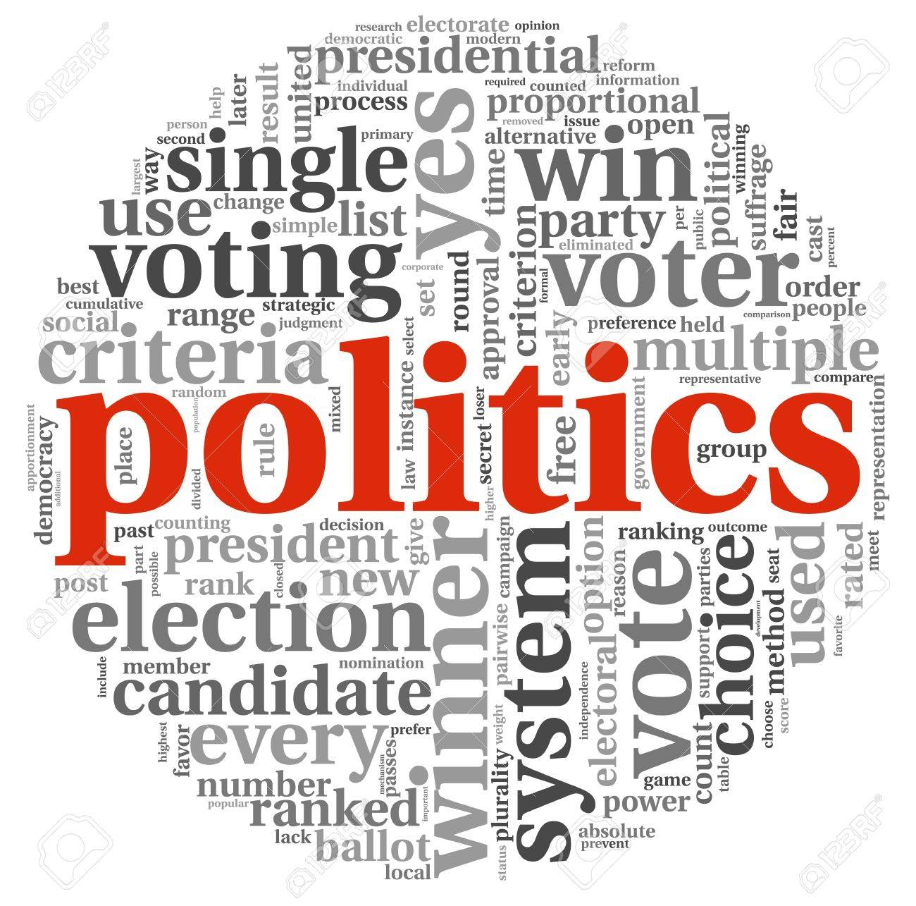Politics and election concept in word tag cloud on white background Stock Photo - 16663194