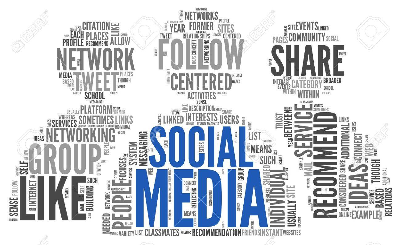 Social media concept in word tag cloud on white background Stock Photo - 17982993