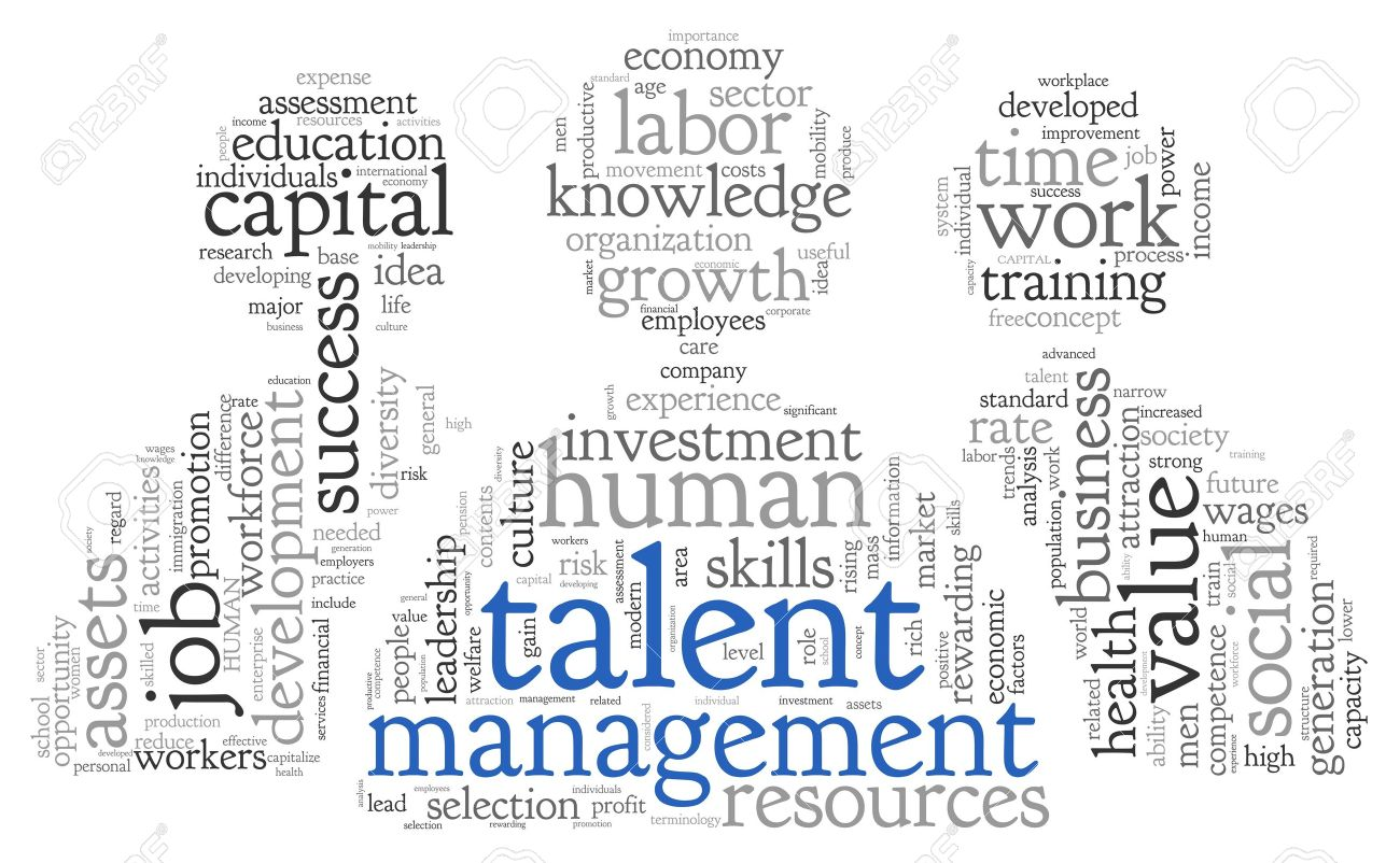 Talent management concept in word tag cloud on white background Stock Photo - 18173628
