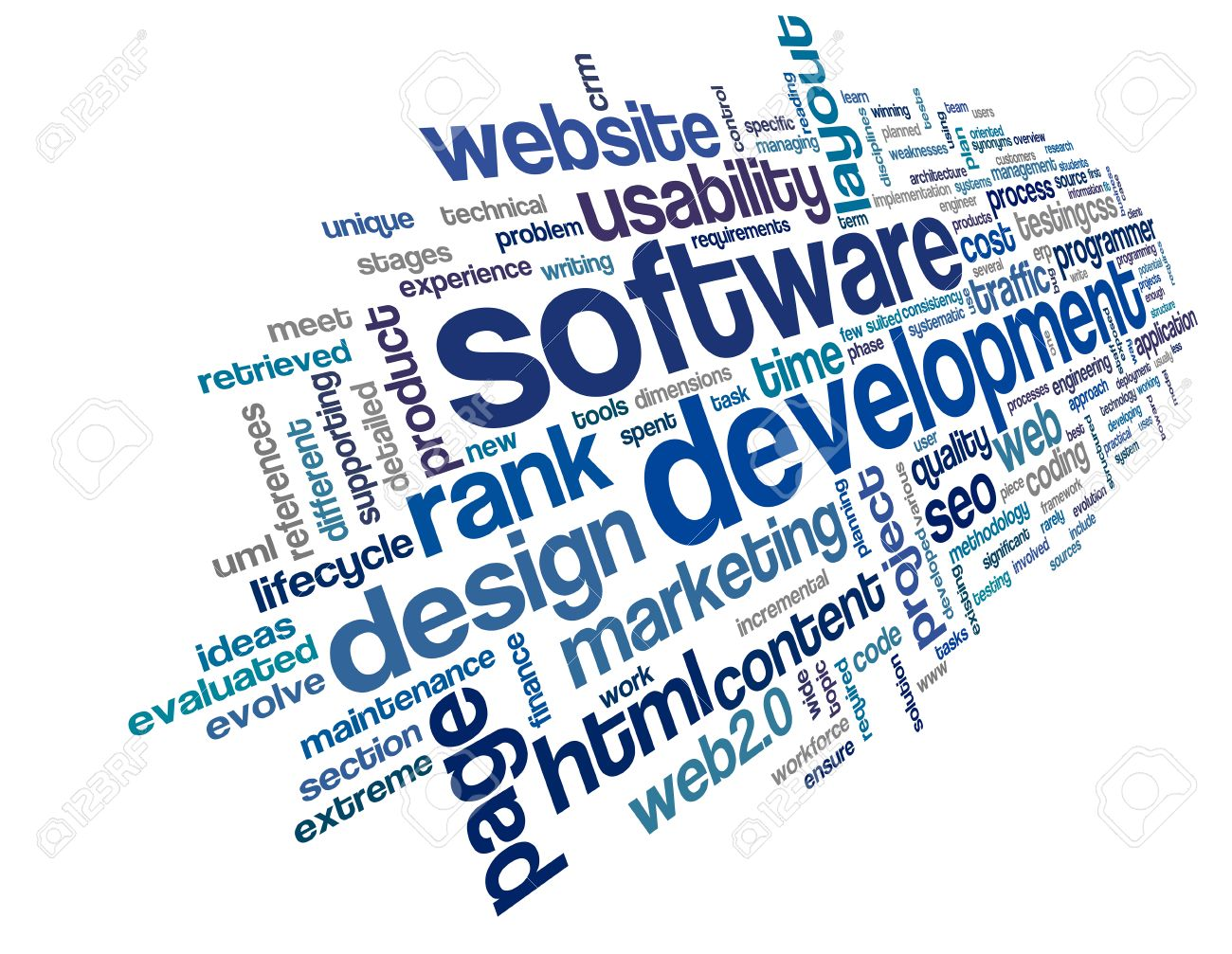 Software development concept in tag cloud on white background Stock Photo - 23229514