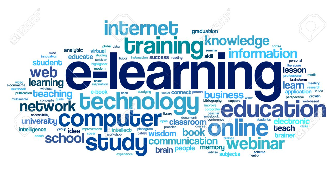 E-learning Concept In Word Tag Cloud On White Stock Photo, Picture ...