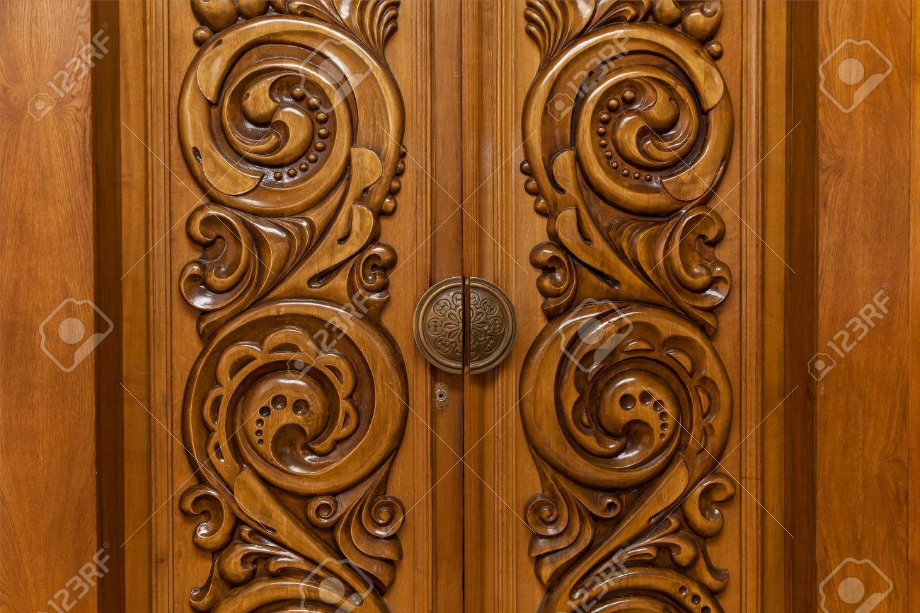 Vintage Wooden Carved Door, Wooden Doors With Abstract Carving ...