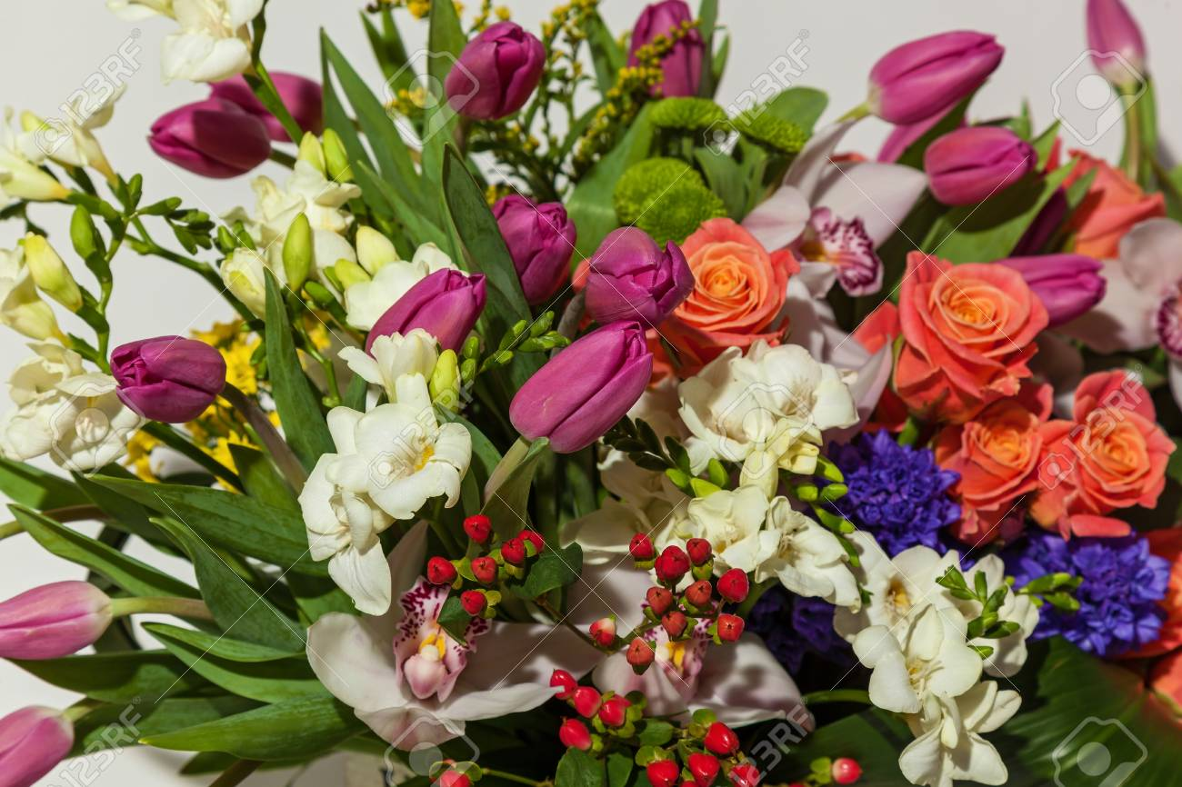 Composition of flowers from pink roses white orchids red tulips composition of flowers from pink roses white orchids red tulips hyacinth and hrzemtem mightylinksfo