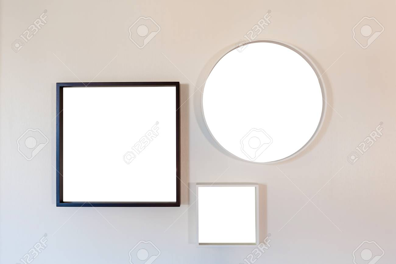 Square And Round Frame For Photo On A White Wall Blank Template