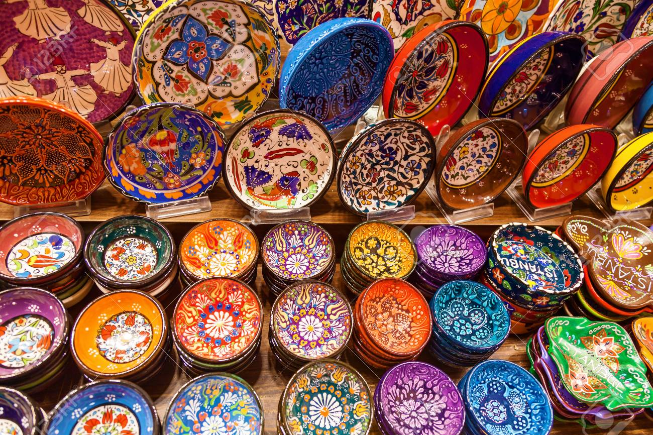 Stock Photo - Variety of colorful ceramic plates sold in the Grand Bazaar market in Istanbul Turkey & Variety Of Colorful Ceramic Plates Sold In The Grand Bazaar Market ...