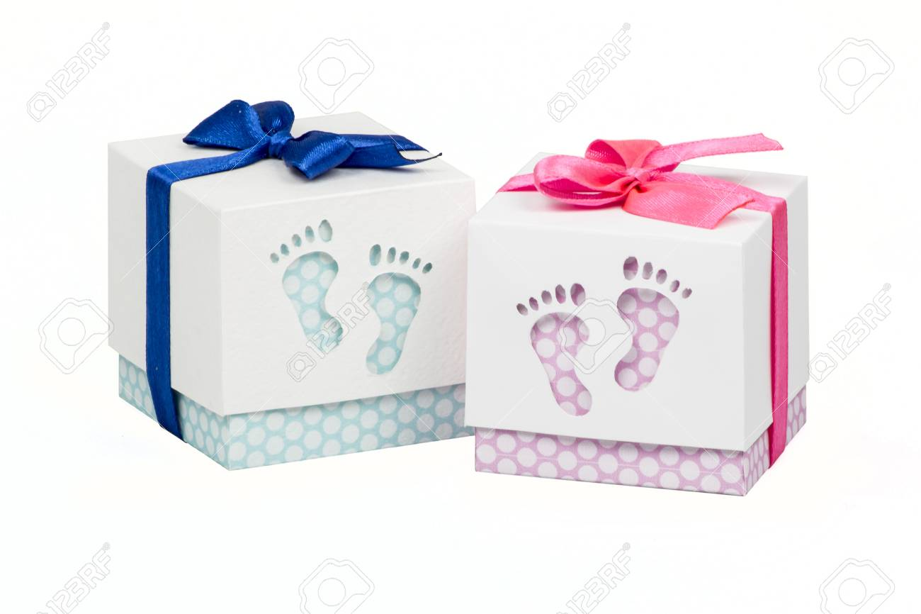 Two Small Boxes With Gift For A Newborn Baby Pink And Blue Polka