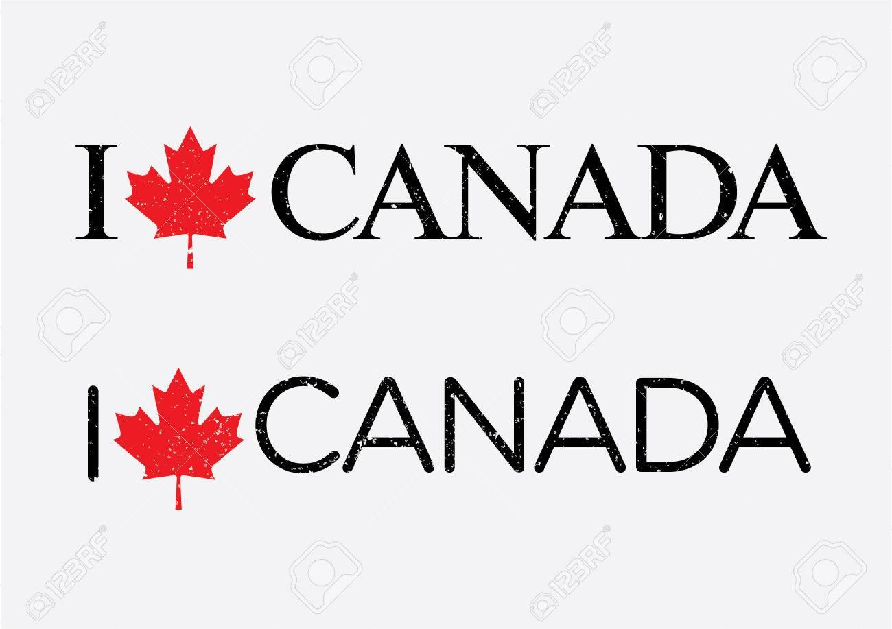 Amo Canadá Plantilla De Vectores Con Una Cresta Canadá ...