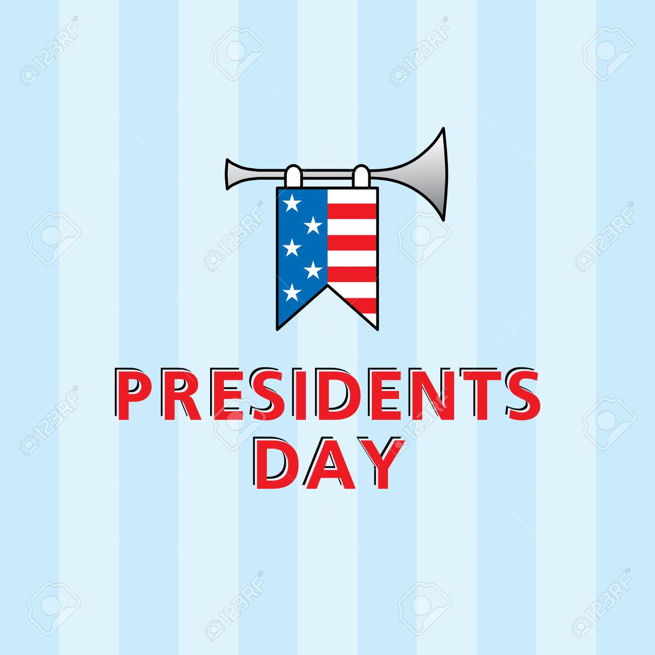 vector template for presidents day with american flag royalty free