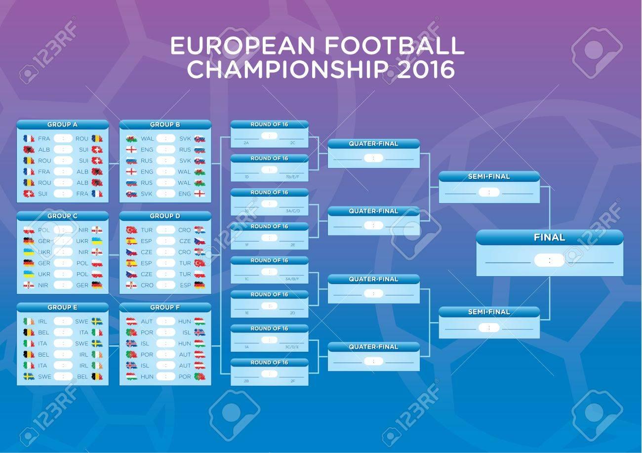 Calendrier Des Match Euro.Euro 2016 Calendrier Footbal Match Modele Pour Le Web L Impression Les Resultats De Football De Table Drapeaux De Pays Europeens Pret Pour