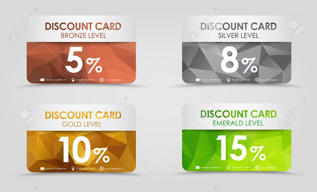 a set of discount cards with gold silver emerald and bronze