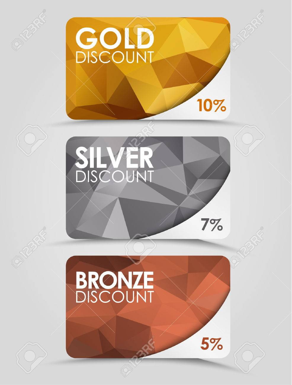 a set of discount cards with gold silver and bronze geometric