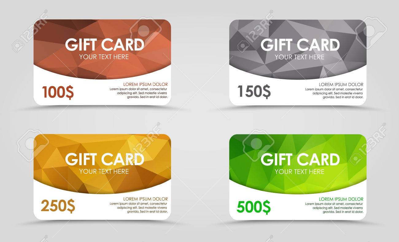 A set of gift (discount) cards with gold, silver, emerald and bronze geometric polygonal background. - 44099233