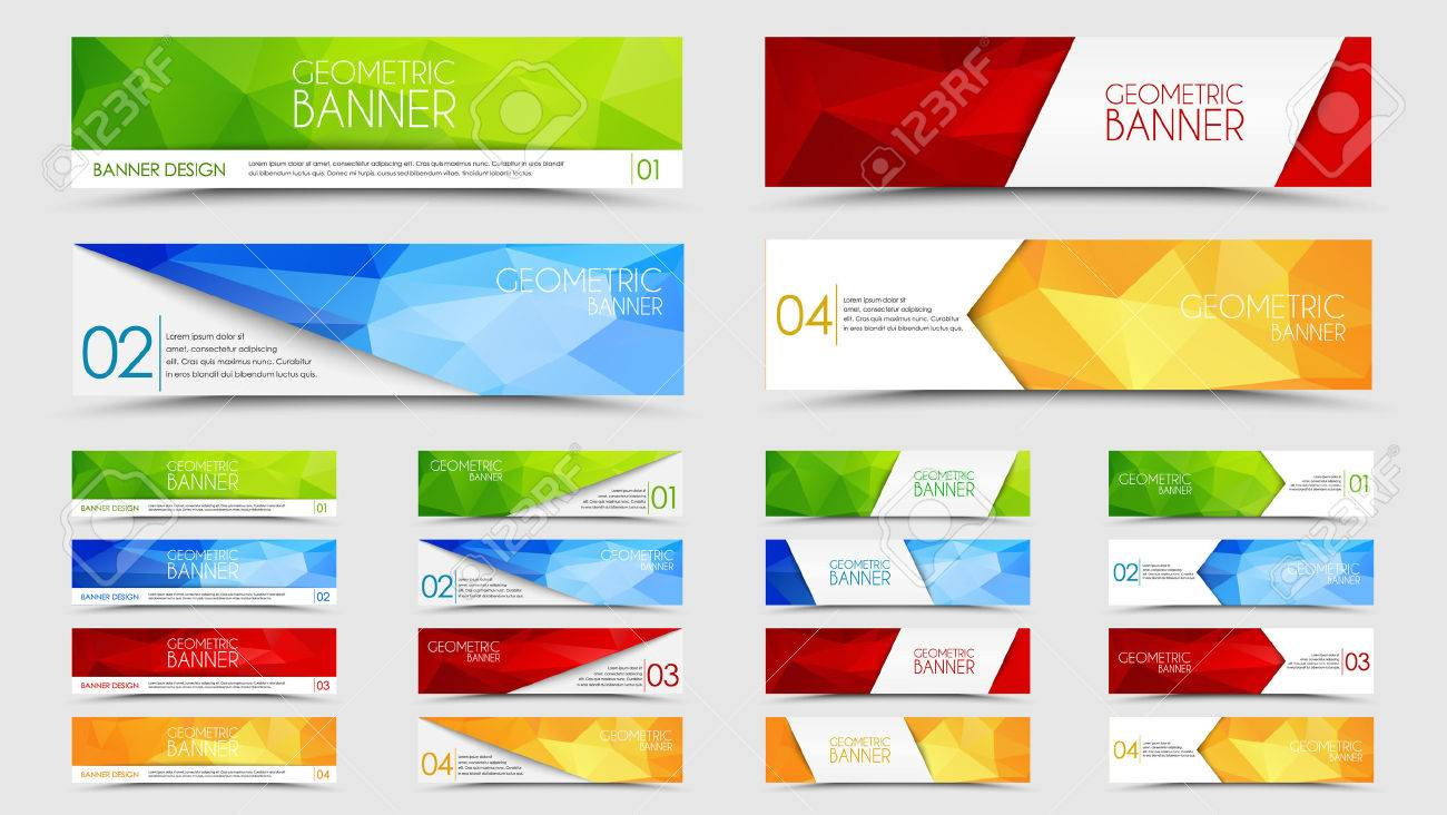 Design elements banner - Set Of Banners With A Polygonal Geometric Background With Different Design Elements And Colors Ribbons