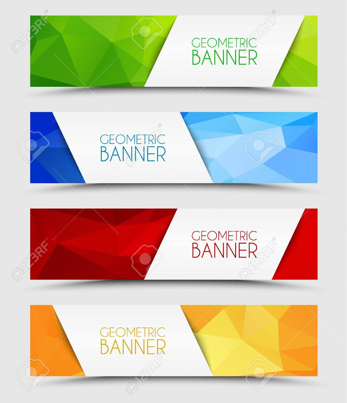 Set of geometric polygonal banner color of green, blue, red and orange - 45113876