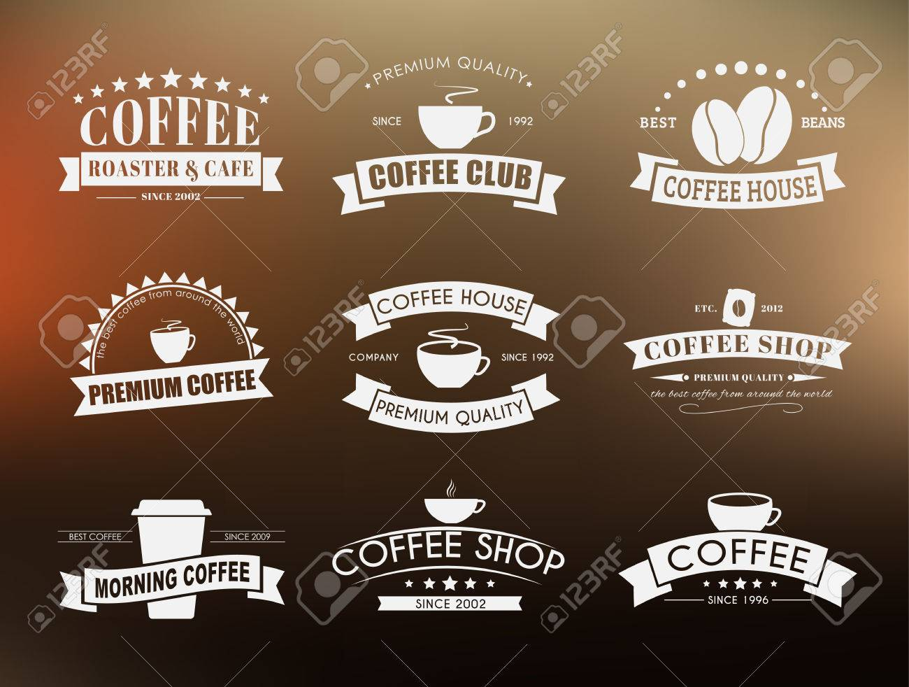 Art logo logo s coffee logo coffee shop coffee design shop logo coffee - Design Coffee Logos Emblems In The Old Style With Ribbons Vector Illustration
