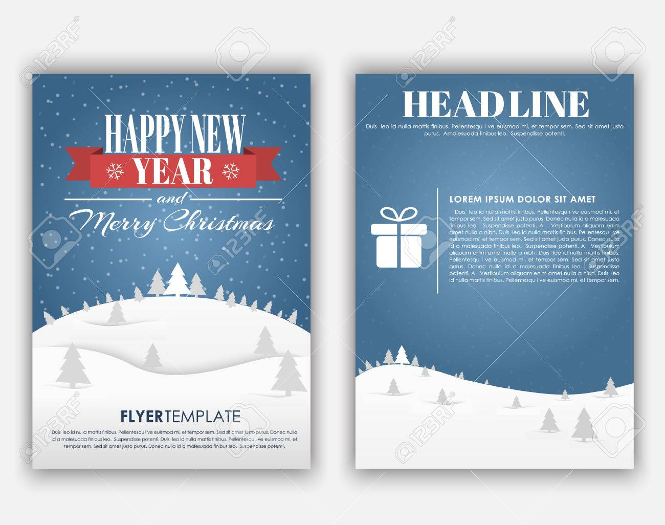 design christmas and new year flyer with a landscape of mountains blue sky and snow