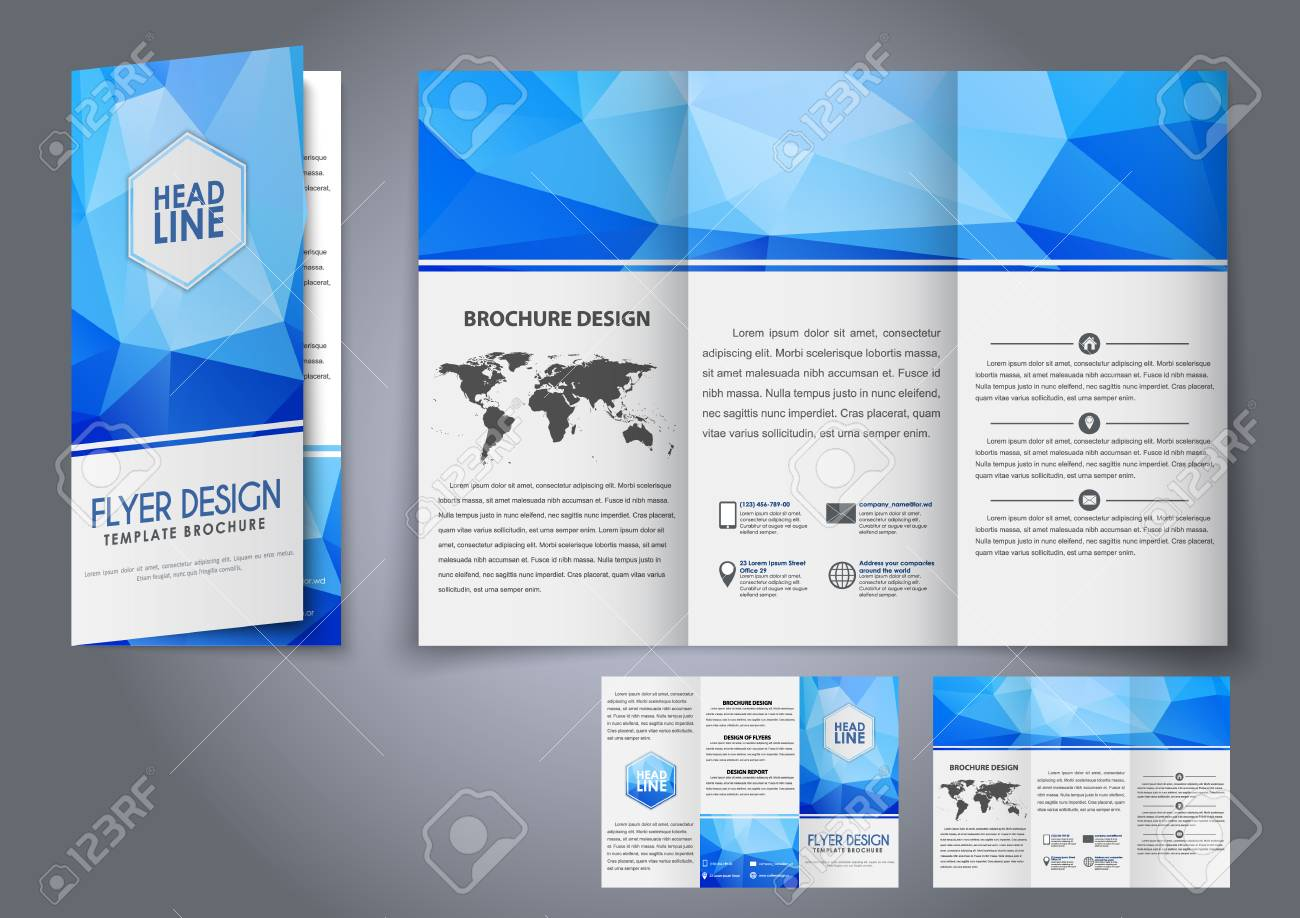 design tri fold flyers brochures blue polygonal elements the