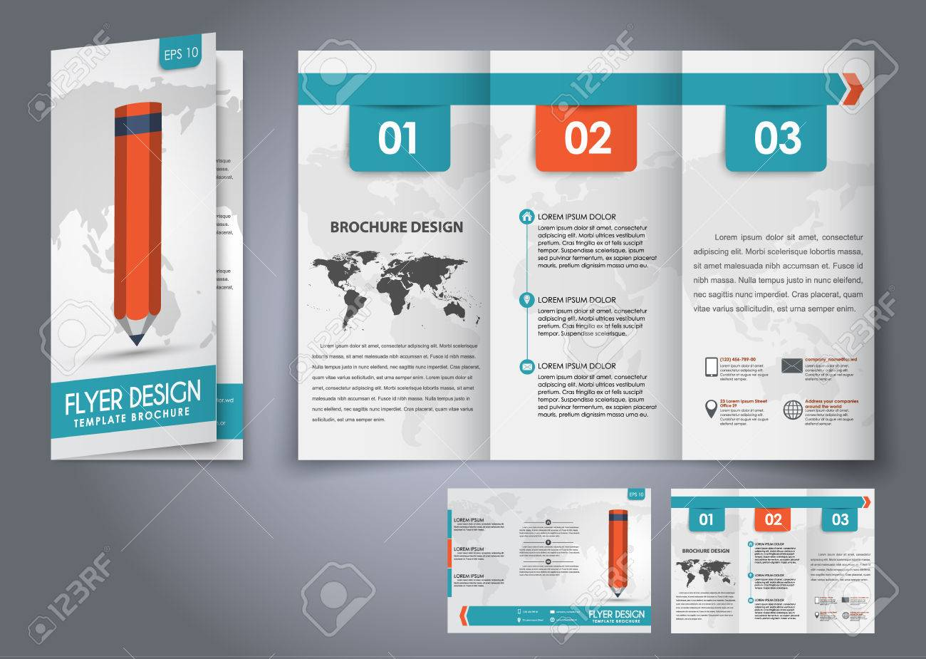 template design three fold flyer brochure with the world map
