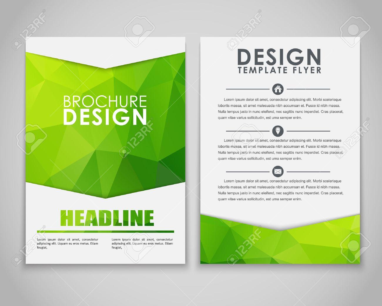 Design brochures (flyers) with polygonal green background. Vector illustration. - 50775413