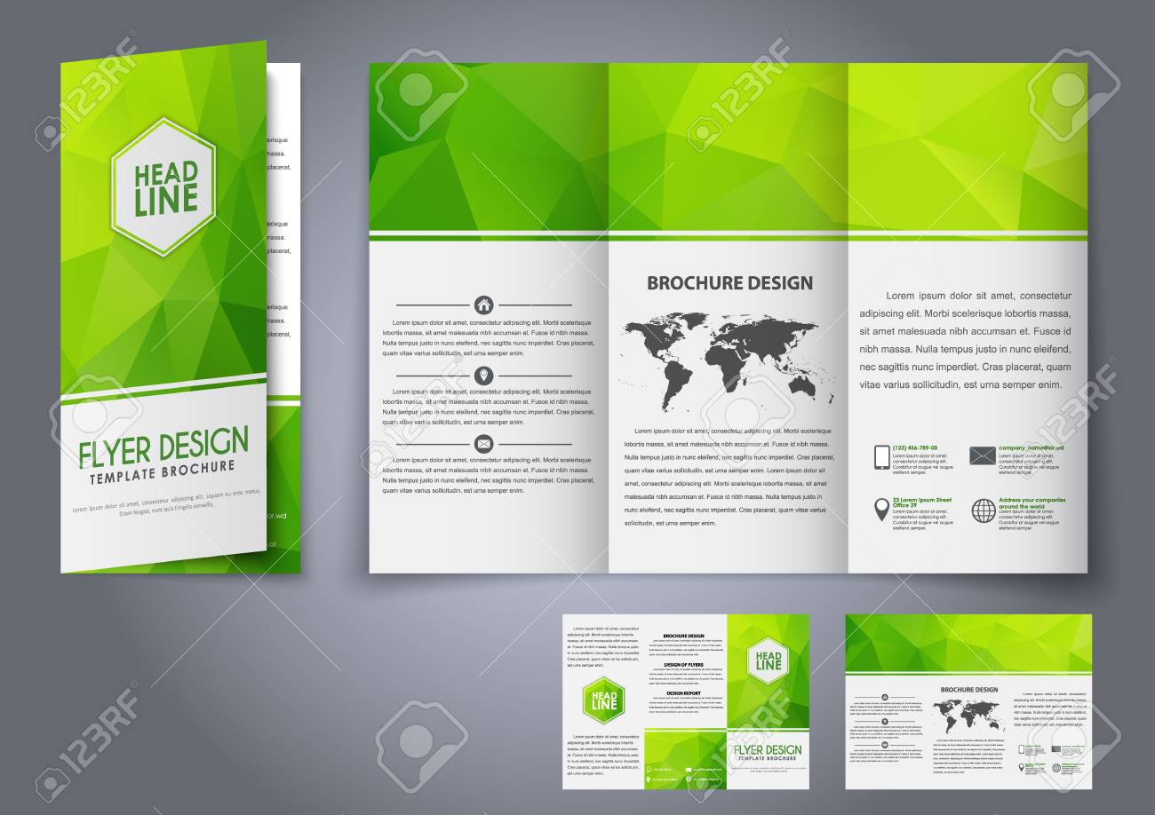 design tri fold flyers brochures green polygonal elements the
